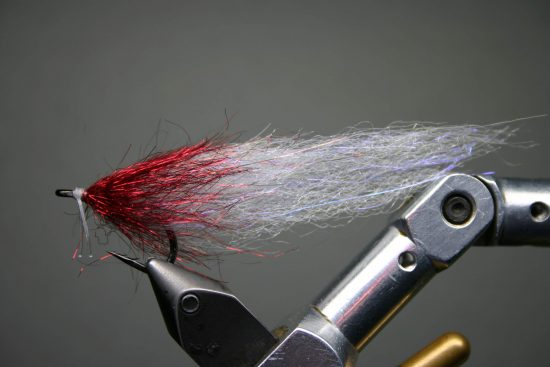 White & Red Boat Tail Minnow Fly